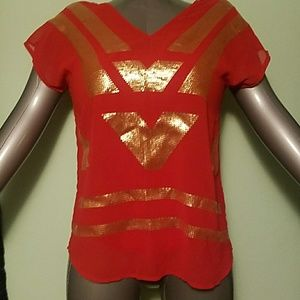Worthington Petite Red and Gold Sequin Top